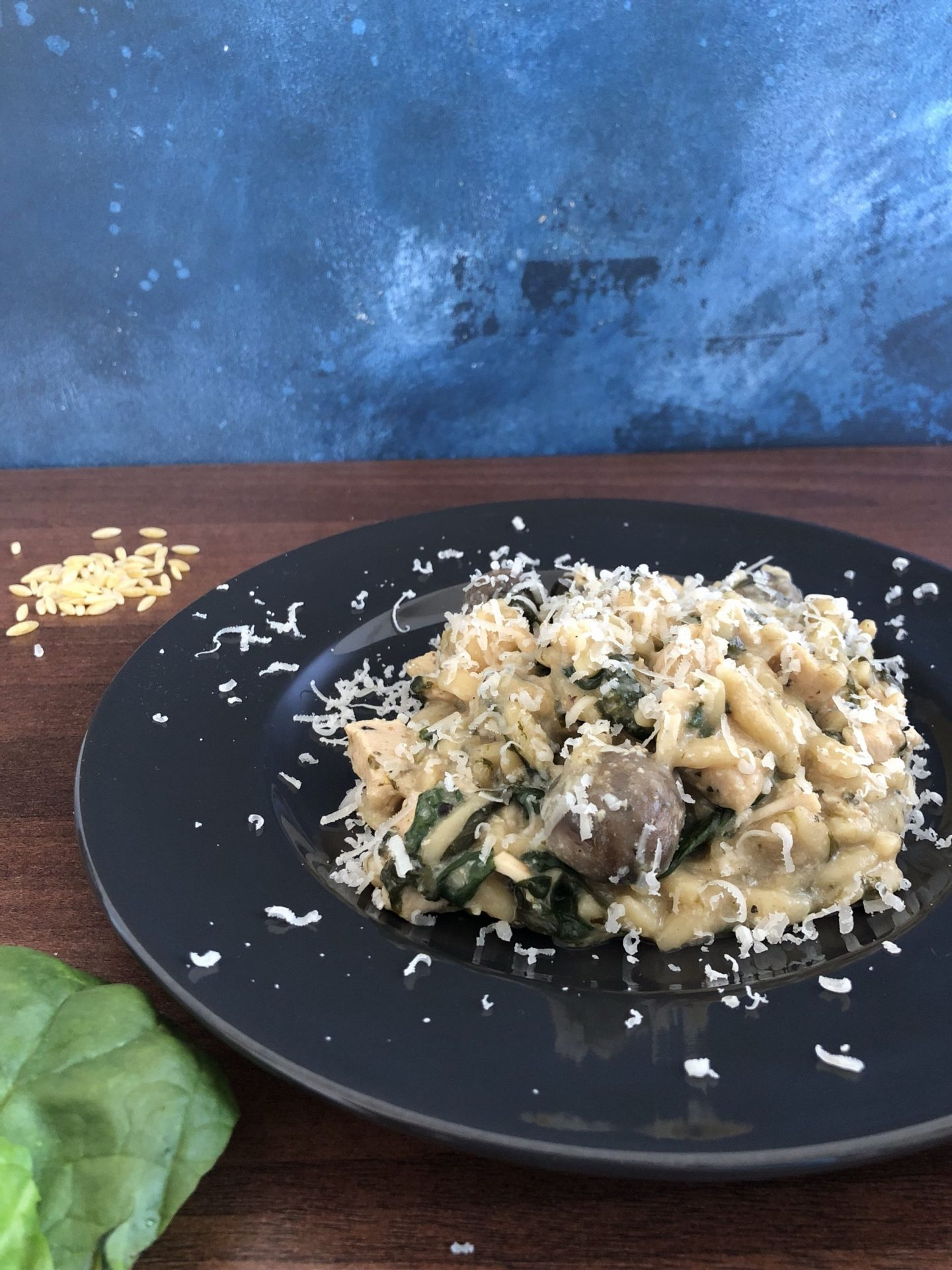 Instant Pot creamy chicken and mushroom orzotto